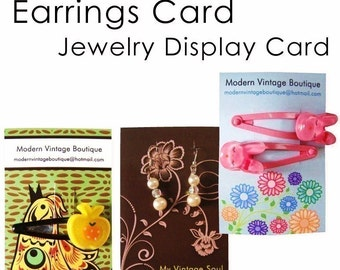 100 Custom Logo OR Premade Hair Accessories Display Cards, Jewelry Display Cards, Earrings Cards, Personalized Stickers, Calling Cards - 2.1 In x 3.4 In