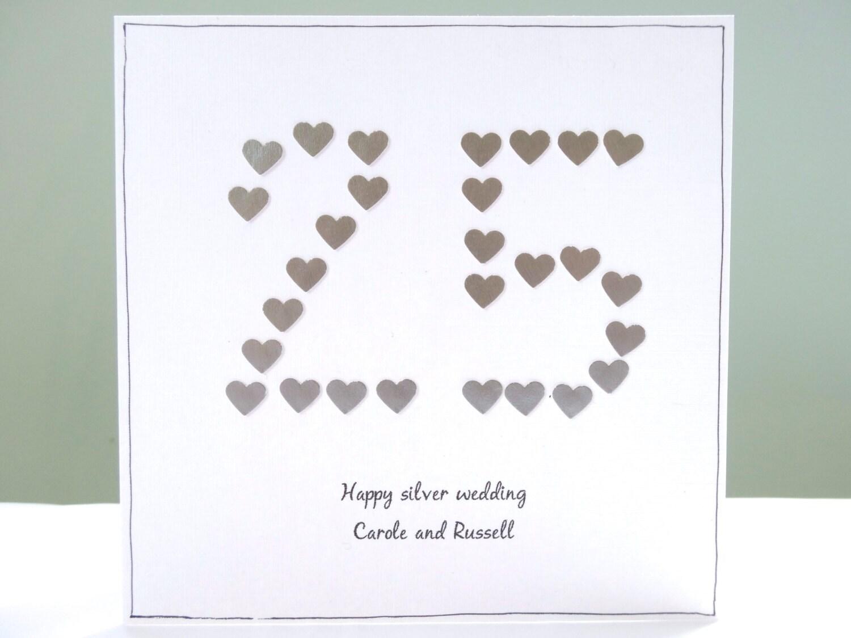 Silver Wedding Anniversary Card Personalised Anniversary