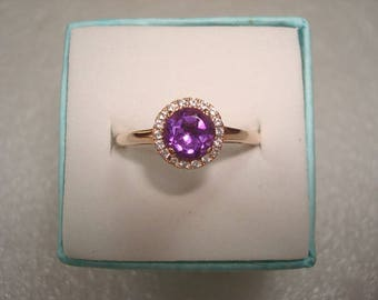 Diamond Cut Purple Amethyst And White Sapphire 14k Rose Gold 925 Sterling Silver Halo Engagement Ring Size 8
