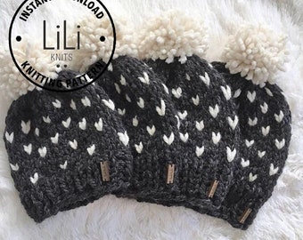 Pattern | LiLiKnits Chunky Knit Fair Isle Hat Set Pattern | Baby/Toddler/Child/Adult | THE MODA | Instant Download