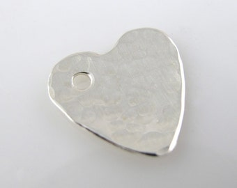 Sterling Silver Heart Charm, 5/8 Inch, 16mm, Textured, Hammered, Link, Polished QTY 2