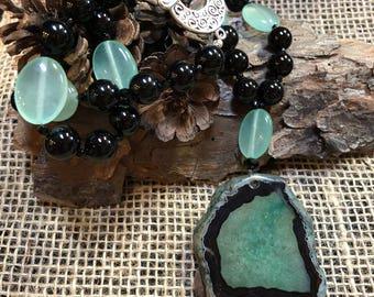 Black and green druzy slice pendant necklace