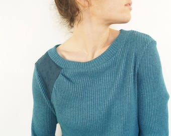 knit sweater with asymmetrical pleated satin petrol blue