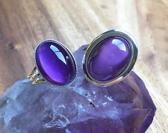Moonstone Ring Purple Moonstone Ring Adjustable Ring Plated Ring Birthday Gift Anniversary Gift Womens Jewellery Handmade Ring SPR1