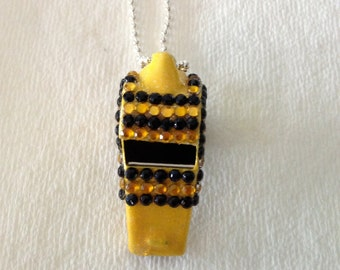 Yellow and Black Rhinestone Covered Whistle
