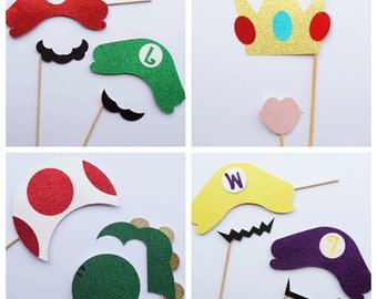 Super Mario Photo Booth Props ; 80's Party Decor ; Video Game Photo Props ; 30th Birthday Party ; 90s party ; 1990s Photo Booth