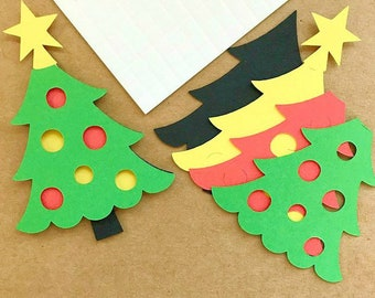 Fabulous Christmas Trees Craft Topper Kit x 10  -  Craft Project Christmas Card Making, Scrapbooking