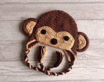 Monkey Crochet Hat, Winter Hat, Earflap Hat, Wool Hat, Newborn, Baby, Toddler, Child, Photo Prop, Baby Shower Gift, MADE TO ORDER