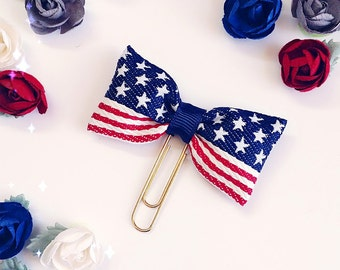 Planner Clip : US Flag PUFFY Ribbon BOW Shaped PaperClip | Page Clip | Bookmark | Page Marker . Planner accessories supply.