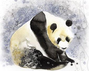 """Martinefa's Original watercolor and Ink """"Panda"""""""