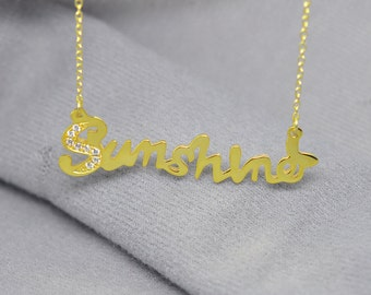 Gold Name Necklace,Custom Nameplate Pendent,Crystal Design Necklace,Party Necklace,Fashion Silver Jewelry,Christmas gift
