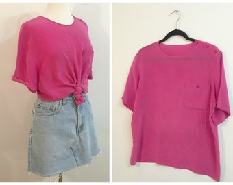 Vintage HOT PINK SILK Tee / Size Medium