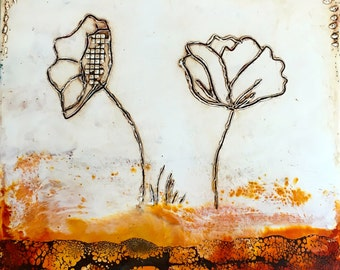 Original Encaustic Painting- Two Poppies