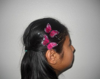 RED MONARCH - A Set Of 2 Red Feather Butterflies On Bobby Pins, Ideal For A Fairy Wedding, Bridesmaids Sets, Easter, For Her