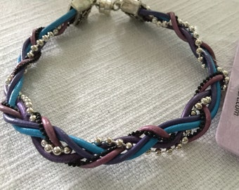Six Strand Leather and Bead Chain Bracelet