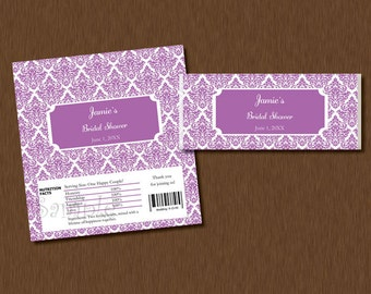 DIY Editable - Candy Bar WRAPPERS - Instant Download - Purple Damask Printable Personalized Bridal Baby Shower Birthday Party Favors