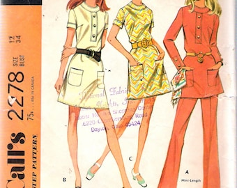 """Vintage 1970 McCall's 2278 Retro Dress & Pants Sewing Pattern Size 12 Bust 34"""""""