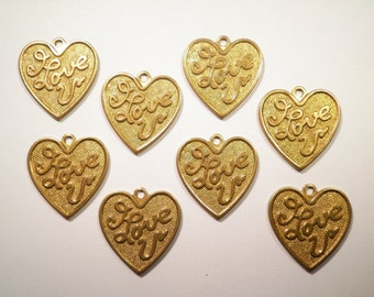 8 Vintage Brass I Love U Heart Charms