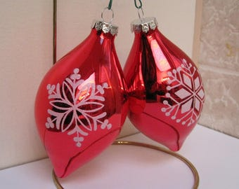 Christmas Ornaments, Stenciled Ornaments, Red Ornaments