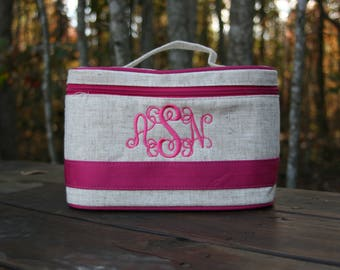 Women's Personalized Pink Train Case Monogrammed Large Cosmetic Case