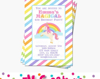 Unicorn Party Invitation - Striped Rainbow Unicorn Printable Invite - Unicorn Birthday Party Printables - Digital Invite - pastel rainbow