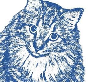 Custom Pet Portrait, Cat Lover Gift, Memorial Art, Pet Lover Gift