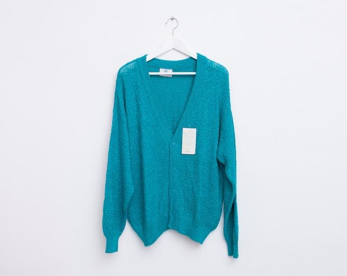 oversized Cardigan sweater 80s NOS vintage aqua blue