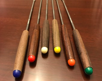 Oster Fondue Forks, Teakwood and stainless steel with Color Dots, Vintage fondue forks, New in the box, Fondue Party, Hostess Gift, Holiday
