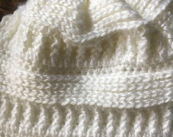 handmade crochet white slouchy beanie