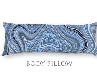 Blue Bed Pillow-Microfiber Sleeping Pillow-Bed Pillow Cover-Blue Body Pillow-Fleece Pillow Cover-Funky Pillow-Bed Bolster-Fleece Body Pillow