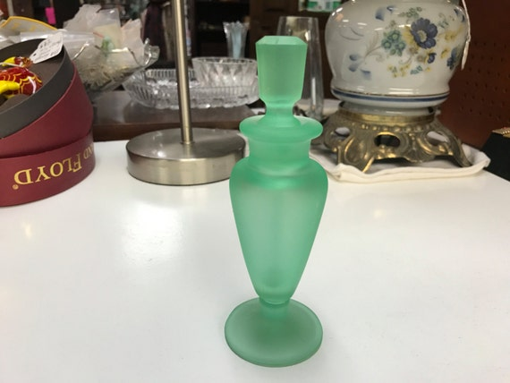 Perfume bottle green satin glass
