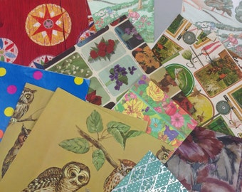 Vtg wrapping paper gift wrap any occasion lot of 14 + owls polka dot fishing floral
