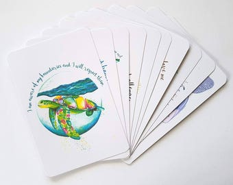 Bulk buy | Pack of 5 Large morning mantra cards | Positive affirmations | Buy 4 get 1 free | Watercolour painting | Insiring quotes