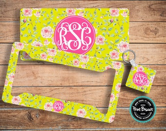 License Plate, Car Plate, Back Car Tag, Lime Green Floral, Roses Monogram License Frame, Bicycle Tag, Front Car Tag, Personalized Tag 59LTlg