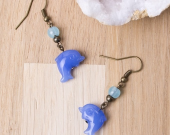 Dolphin Earrings |  Blue dolphin bronze dangle earrings with blue beads | Dolphin jewellery | Animal earrings | Sea jewelry | Ocean earrings