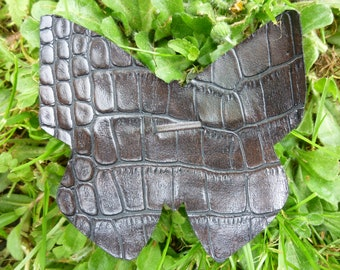 Barrette Butterfly faux ostrich brown leather