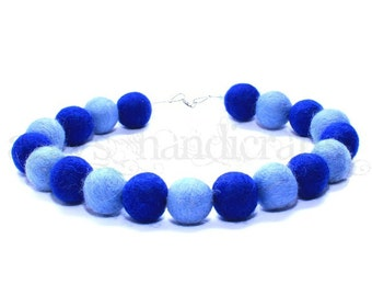Felt Beads Necklace * Felt Jewellery * Felted Necklace * Cornflower-Jeans