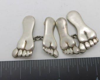 Sterling silver cufflinks Bare FEET Glasser NY