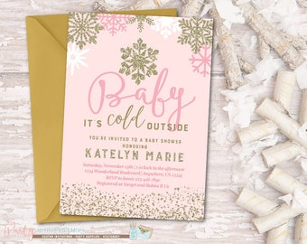 Baby It's Cold Outside Baby Shower Invitation, Snowflake Baby Shower Invitation, Winter Baby Shower Invitation, Pink and Gold Invitation