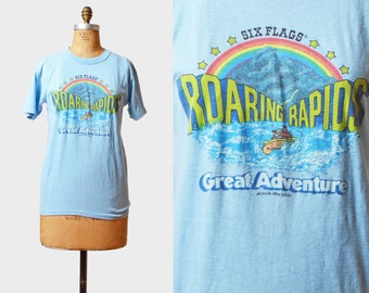Vintage 80s SIX FLAGS Roaring Rapids Shirt Graphic TShirt / 1980s Great Adventure 80s Retro T Shirt Medium M