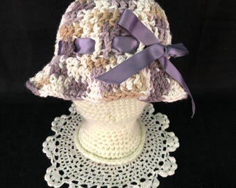 Baby Cotton Sun Hat with Floppy Brim;  Purple Taupe and Ivory 3-6 Month  Baby Sun Hat; Baby Easter Spring Hat; Ready to Ship!