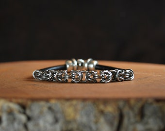 Men's Chain Maille and Leather Bracelet