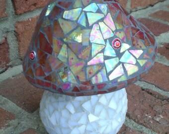 Stained Glass Mosaic Mushroom Garden Art