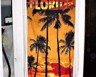 Vintage 80s Florida Sunset Beach Towel Terry Cloth Map