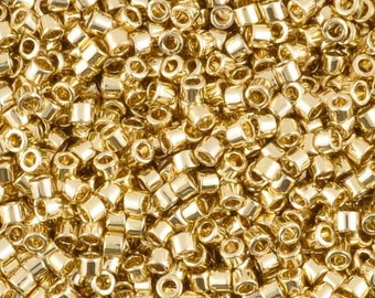 Seed Beads-11/0 Delica-34 24Kt Gold Light-Plated-Miyuki-7 Grams