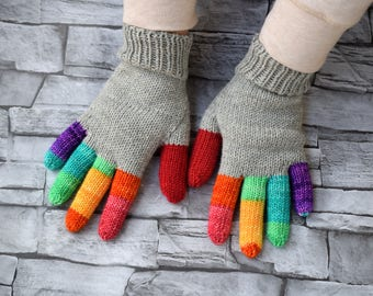 Womens handpainted gloves, medium thick merino wool, winter gloves, light grey and rainbow fingers mittens, size S/M ready to ship
