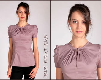 "Elegant Woman Shirt ""Rosina"", romantic blouse,  puffed sleeve top, romantic top"