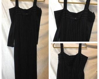 35% Off Sale Retro dark navy blue pinstriped jumpsuit large Xlarge 1980