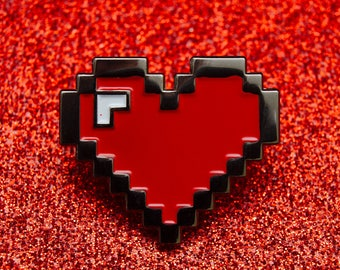 1Up Pixel Heart Pin Badge | Valentine Heart Pin Badge | Enamel Pin Badge | Soft Enamel Pin Badge | Heart Pin Badge Gift