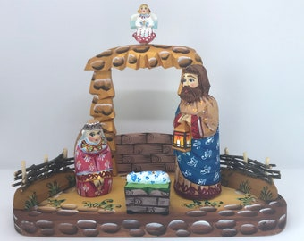 """Wooden Nativity Set Scene Holy Family 7.8"""" Hand painted Christmas decoration Collectible Religious Gift"""